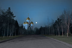The way to the temple. In Volgograd at the full moon Stock Photo