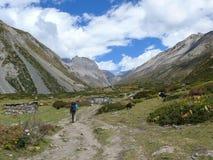 Way to Thorong La pass from Yak Kharka, Nepal Royalty Free Stock Image