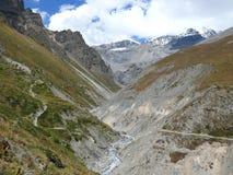 Way to Thorong La pass from Yak Kharka, Nepal Royalty Free Stock Photos