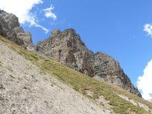 Way to Thorong La pass from Yak Kharka, Nepal Stock Photos