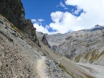 Way to Thorong La pass from Yak Kharka, Nepal Royalty Free Stock Photography