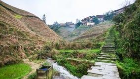 way to Tiantouzhai village between terraced hills Stock Photos