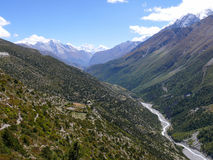 Way to Tilicho base camp, view to Manaslu, Nepal Royalty Free Stock Photography