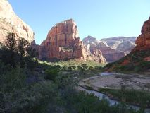 On the way to the Top of Angels Landing Trail - View over Zion National Park, Utah, USA Royalty Free Stock Photography
