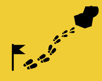 The way to the treasure. Footstep with flag and chest. Flat design map Stock Photography