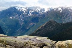 On the way to Trolltunga, Hordaland county, Norway.  stock photos