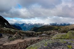 On the way to Trolltunga, Hordaland county, Norway.  stock photo