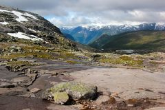 On the way to Trolltunga, Hordaland county, Norway.  stock photography