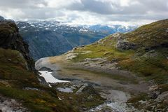 On the way to Trolltunga, Hordaland county, Norway.  royalty free stock image