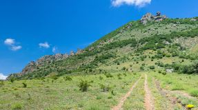 Way to Valley of Ghosts in Crimean mountains Royalty Free Stock Image