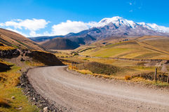 A way to the volcano. A way to the Chimborazo mountain, in Chimborazo province Ecuador Royalty Free Stock Images