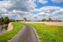 Way to windmill and blue sky, Alkmaar Royalty Free Stock Photo