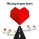 The way to your heart on the white background happy  valentine d Stock Photography