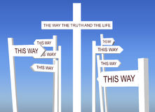 The Way the Truth and the Life Cross. An illustration of The Way the Truth and the Life white cross among other road signs pointing to conflicting and different Stock Images