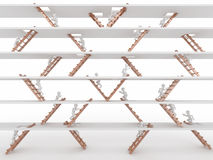 Way up. People and ladders. Way up. People and ladders on white isolated background. 3d Stock Photo