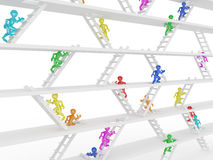 Way up. People and ladders. Way up. People and ladders on white isolated background. 3d Stock Photography