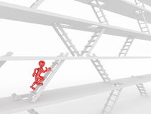 Way up. People and ladders. Way up. People and ladders on white isolated background. 3d Royalty Free Stock Photography