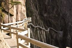 Stone Steep Steps . Trekking walking hiking Huangshan Mountain. Royalty Free Stock Photos