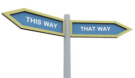 This way that way. 3d road sign post of 'this way' and 'that way royalty free illustration