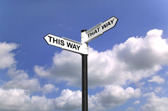 This Way That Way Which way to turn. Signpost saying This Way That Way, Which way to turn good concept image for direction Stock Photos