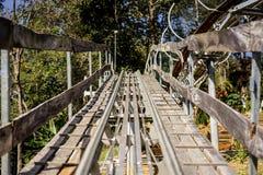 Way wood roller coaster. Close up Royalty Free Stock Photos