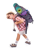 Way-worn hiker. With backpack on white background Stock Photo
