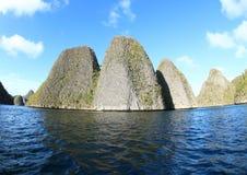 Wayag石灰石石灰岩地区常见的地形顶视图 免版税库存照片