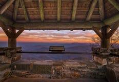 Wayah Bald Sunset. Wayah Bald Firetower sunset in the Blue Ridge Mountains of North Carolina. Located in the Nantahala National Forest Stock Photos