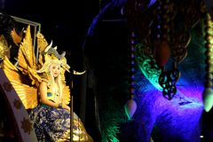 Street art traditional costume performance in Wayang Jogja Night Carnival 2017. Wayang Jogja Night Carnival is an art and culture parade that performed to Stock Photos