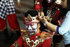 Street art traditional costume performance in Wayang Jogja Night Carnival 2017. Wayang Jogja Night Carnival is an art and culture parade that performed to Royalty Free Stock Photos