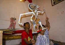 Wayang Kardus传统在Klaten中爪哇省 库存图片