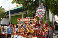 Wayang Kulit sellers on the streets, while exhibiting their selling products in Tegal / Central Java, Indonesia, royalty free stock photos