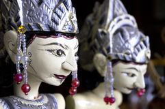 Wayang Wooden Puppets of Indonesia Stock Photos