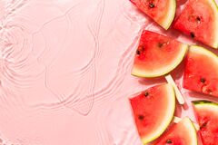 Free Wayermelon Slice In Water Pink Background, Freshness, Transparency Royalty Free Stock Images - 182279759