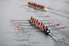 Wayland-Weston Rowing Association. BOSTON - OCTOBER 24: Wayland-Weston Rowing Association Men 18 and Under men's Crew competes in the Head of the Charles Regatta Stock Photography