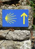 Pilgrimage on the Camino de Santiago trail, Portugal. Waymark along the Way of St. James, Portugal, Europe Stock Photos