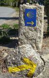 Pilgrimage on the Camino de Santiago trail, Portugal. Waymark along the Way of St. James, Portugal, Europe Royalty Free Stock Photo