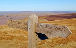 Waymark da maneira do Pennine Foto de Stock