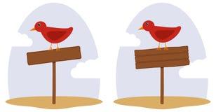 Waymark simple. The bird sits on a road sign Stock Photos