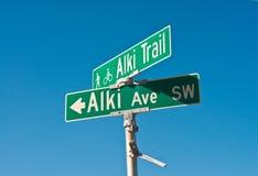 Waymark sur la plage d'Alki de Seattle Photographie stock