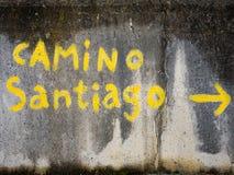 Waymarking en el Camino de Santiago en España Imagen de archivo