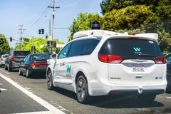 Waymo Self Driving Car Cruising On The Streets Of South San Francisco Bay Area, Silicon Valley Stock Photos