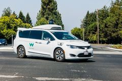 Waymo self driving car performing tests. September 6, 2018 Mountain View / CA / USA - Waymo self driving car performing tests on a street near Google`s royalty free stock photography