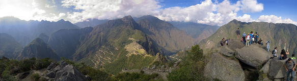 Wayna Picchu panorama. Panorama of Machu Picchu, surrounding mountains and Urubamba valley seen from Wayna Picchu peak and covering more than 180 degrees around Stock Image