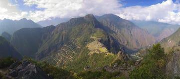 Wayna Picchu panorama view. Panorama of Machu Picchu, surrounding mountains and Urubamba valley seen from Wayna Picchu peak stock images