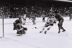 Wayne Cashman y Ken Dryden, NHL del vintage Imagen de archivo