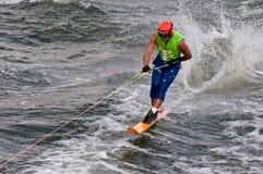 Wayne Mawer. Competing in men's Formula One world championships waterski race in Genk Belgium royalty free stock photos