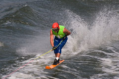 Wayne Mawer. Competing in men's Formula One world championships waterski race in Genk Belgium stock photo