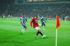 Wayne Rooney. With the ball soon to qualify to the 2009 UEFA Champions League Semi-Final in Porto, Portugal Royalty Free Stock Image