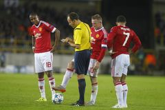 Wayne Rooney, Ashley Young y Memphis Depay Champion League FC Brujas - Manchester United Fotografía de archivo libre de regalías